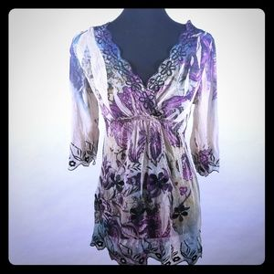 3/4 sleeve Floral Semi Sheer Top V-Neck